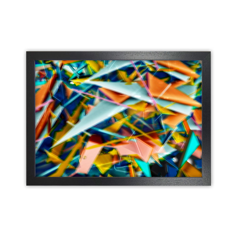 Blurred Triangles 2 Abstract Art Print by Henry Hu Black Grain