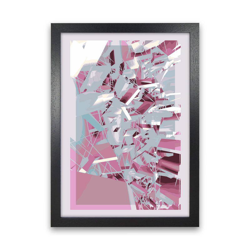 Pink & Grey Squares Abstract Art Print by Henry Hu Black Grain