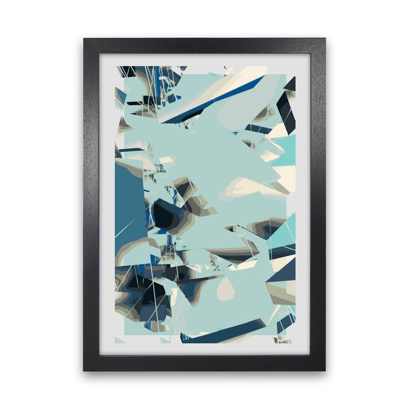 Blue Fade Abstract Art Print by Henry Hu Black Grain