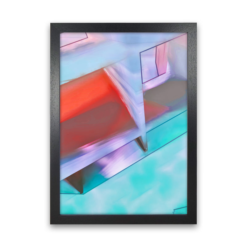 Hillside Abstract Art Print by Henry Hu Black Grain