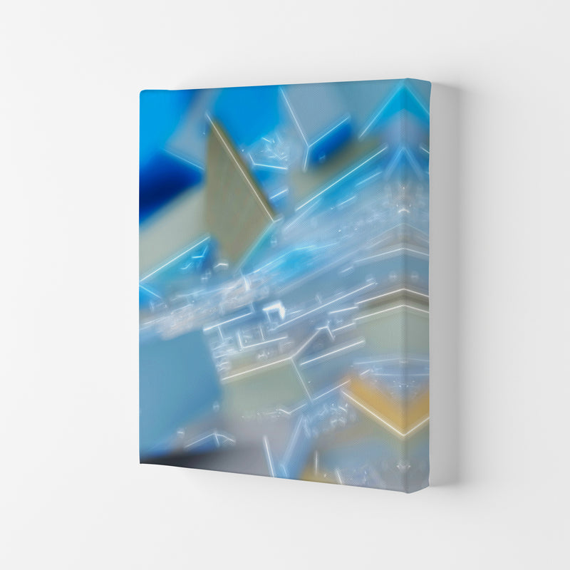 Electric Blue 6 Abstract Art Print by Henry Hu Canvas