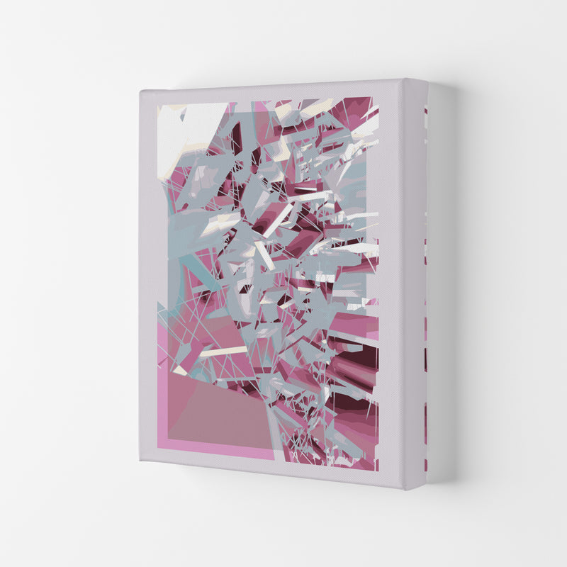 Pink & Grey Squares Abstract Art Print by Henry Hu Canvas