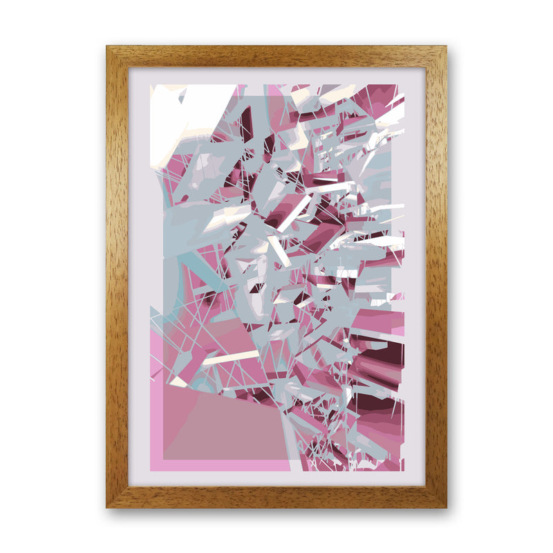 Pink & Grey Squares Abstract Art Print by Henry Hu Oak Grain