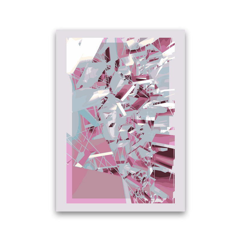 Pink & Grey Squares Abstract Art Print by Henry Hu Print Only