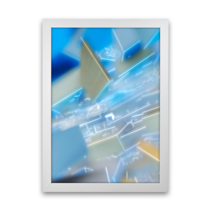 Electric Blue 6 Abstract Art Print by Henry Hu White Grain
