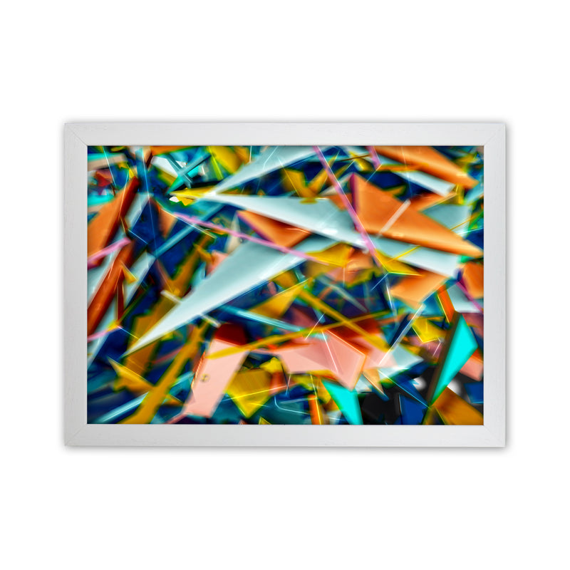 Blurred Triangles 2 Abstract Art Print by Henry Hu White Grain