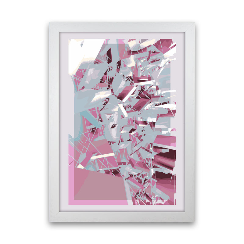 Pink & Grey Squares Abstract Art Print by Henry Hu White Grain