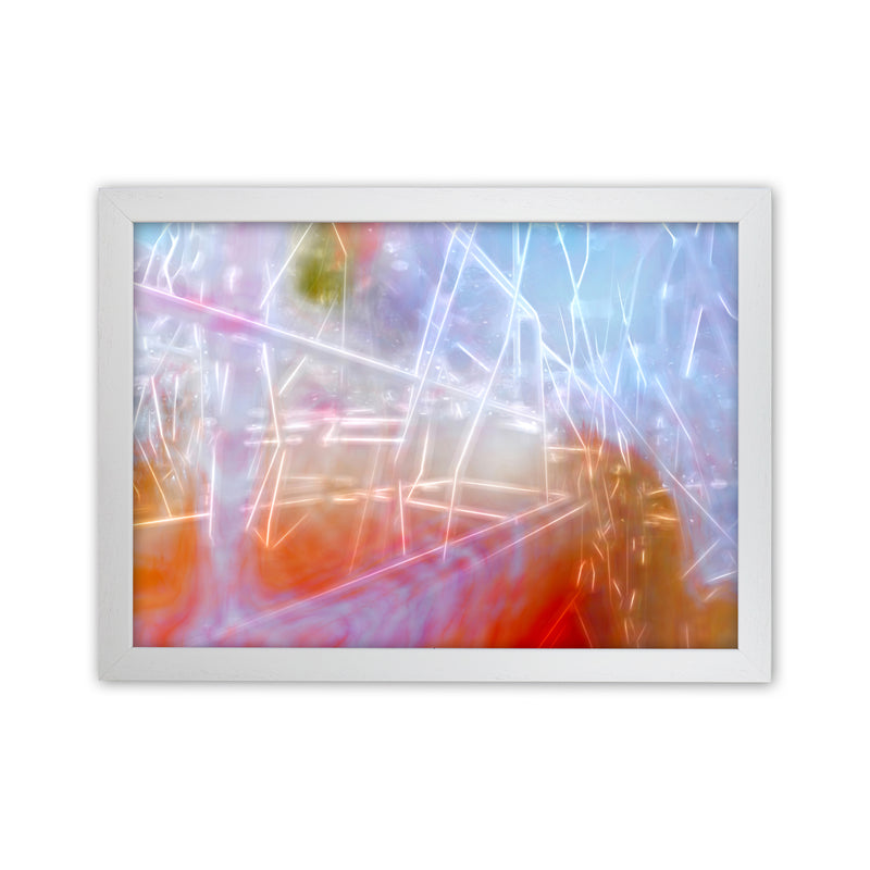 Neon Abstract Art Print by Henry Hu White Grain