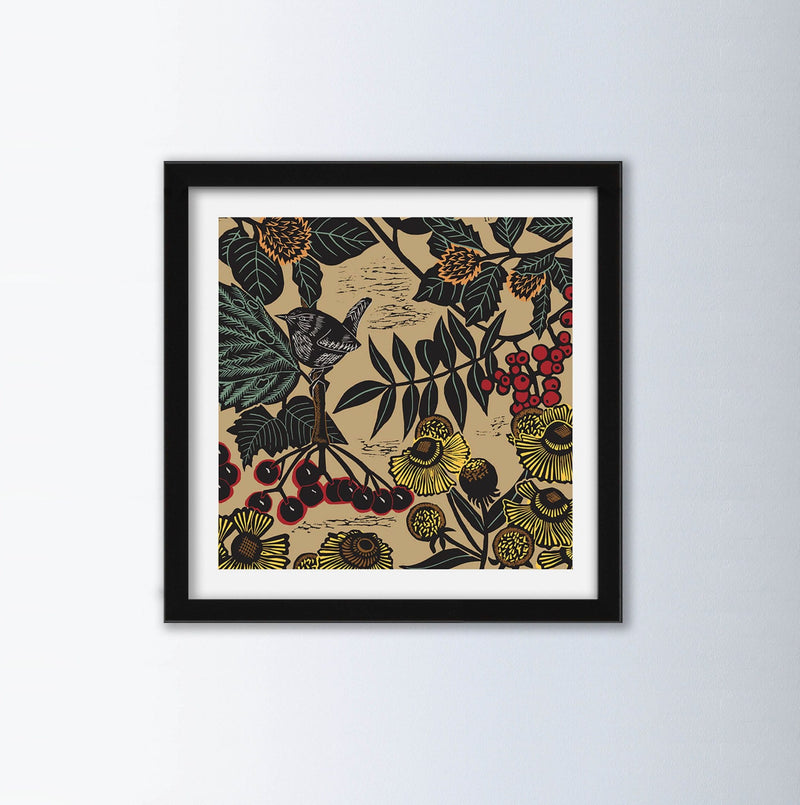 Autumn Linocut Art Print By Kate Heiss