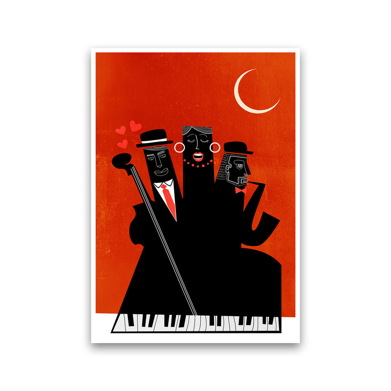 Casablanca Jazz-RED Modern Music Art Print by Kubistika