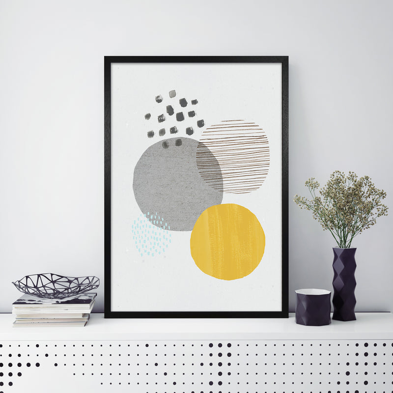 Laura Irwin Abstract Mustard and Grey A1 Black with White Mount