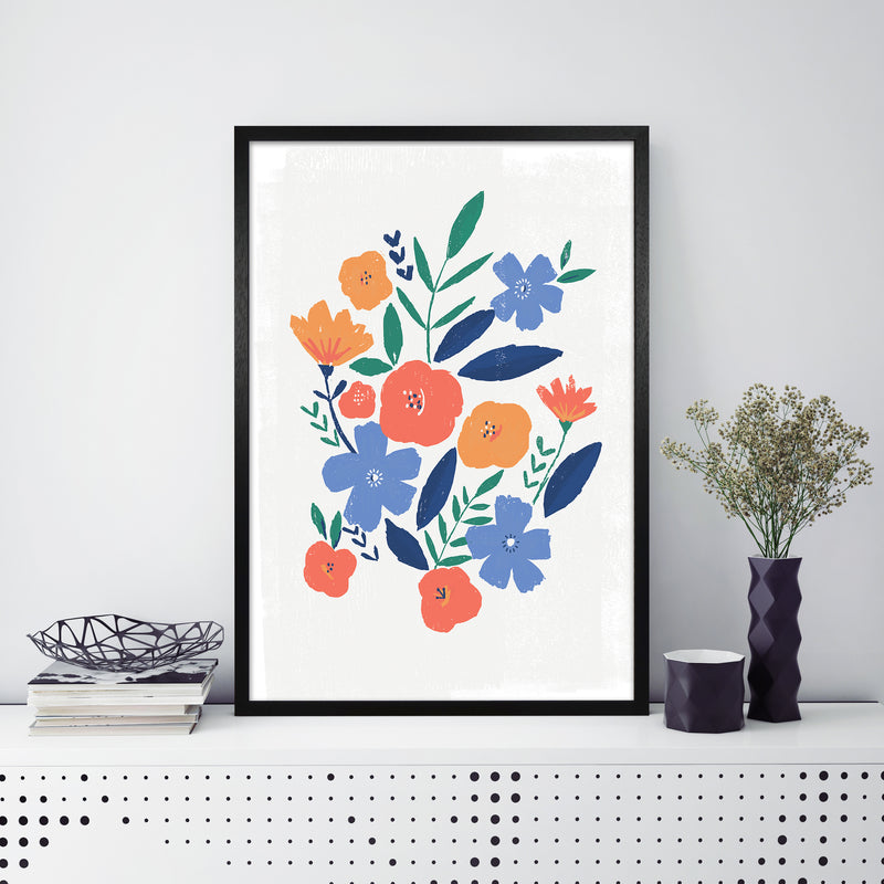 Laura Irwin Floral art print A1 Black with White Mount