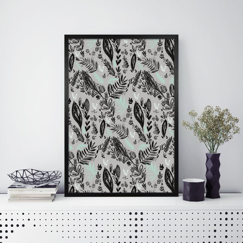 Laura Irwin Inky Jungle Pattern A1 Black with White Mount