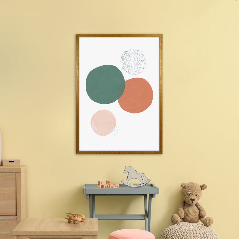 Abstract Soft Circles by Laura Irwin A1 Oak Frame