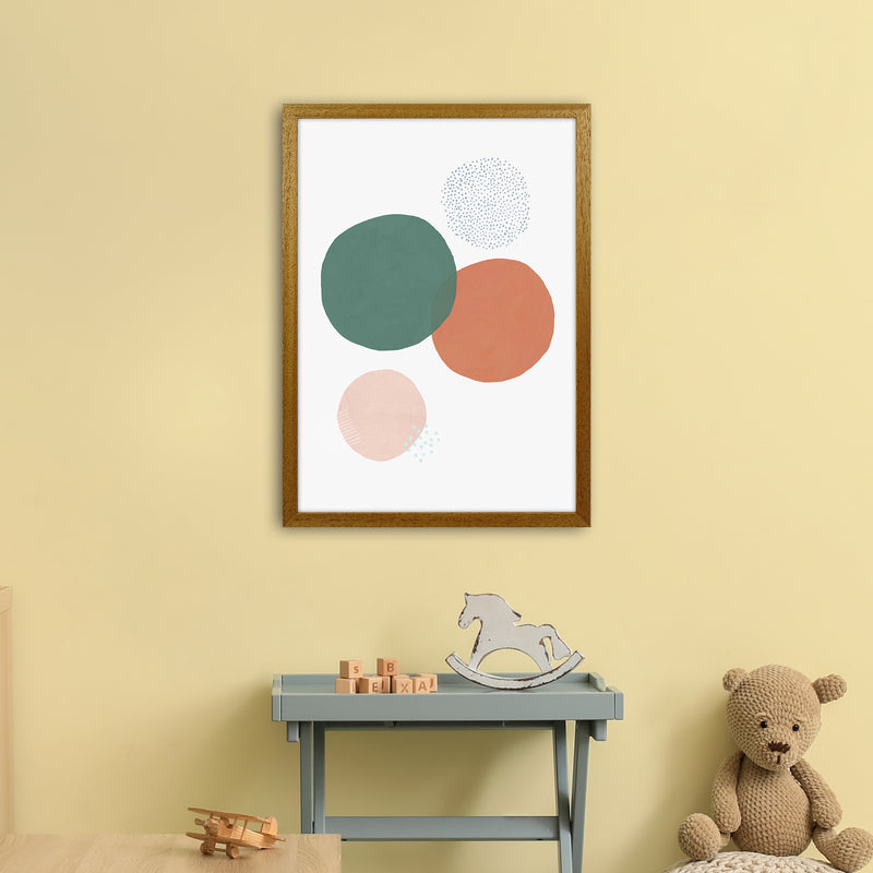 Abstract Soft Circles by Laura Irwin A2 Oak Frame