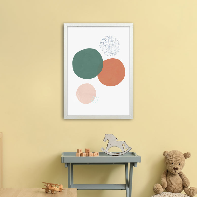 Abstract Soft Circles by Laura Irwin A2 White Frame
