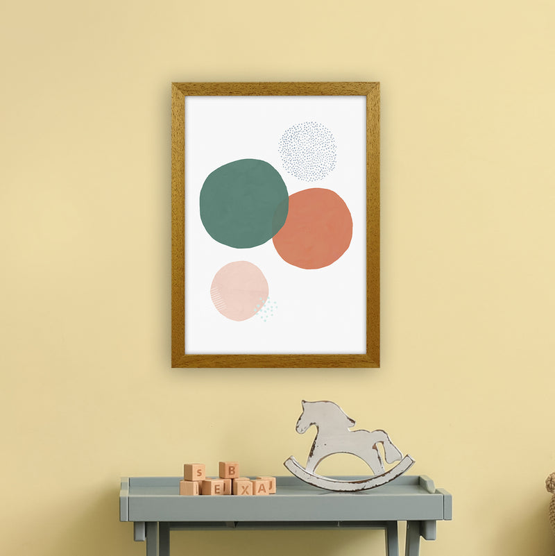 Abstract Soft Circles by Laura Irwin A3 Oak Frame