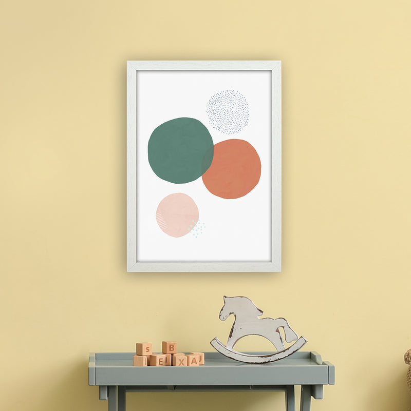 Abstract Soft Circles by Laura Irwin A3 White Frame