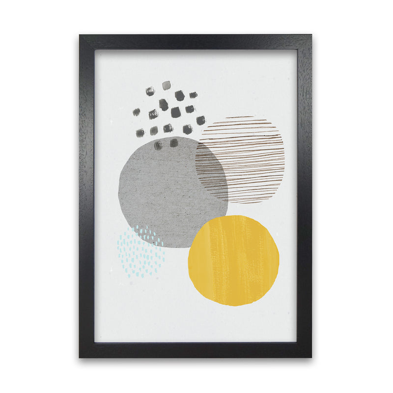 Laura Irwin Abstract Mustard and Grey A1 White with White Mount