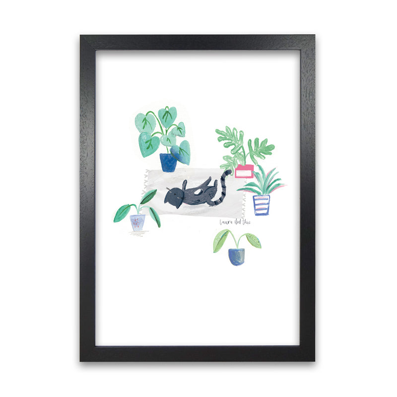 Laura Irwin Black Cat and House Plants A1 White with White Mount