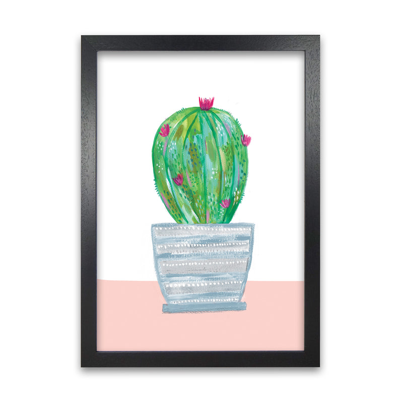 Laura Irwin Painted Cactus in Blue Stripe Plant Pot A1 White with White Mount