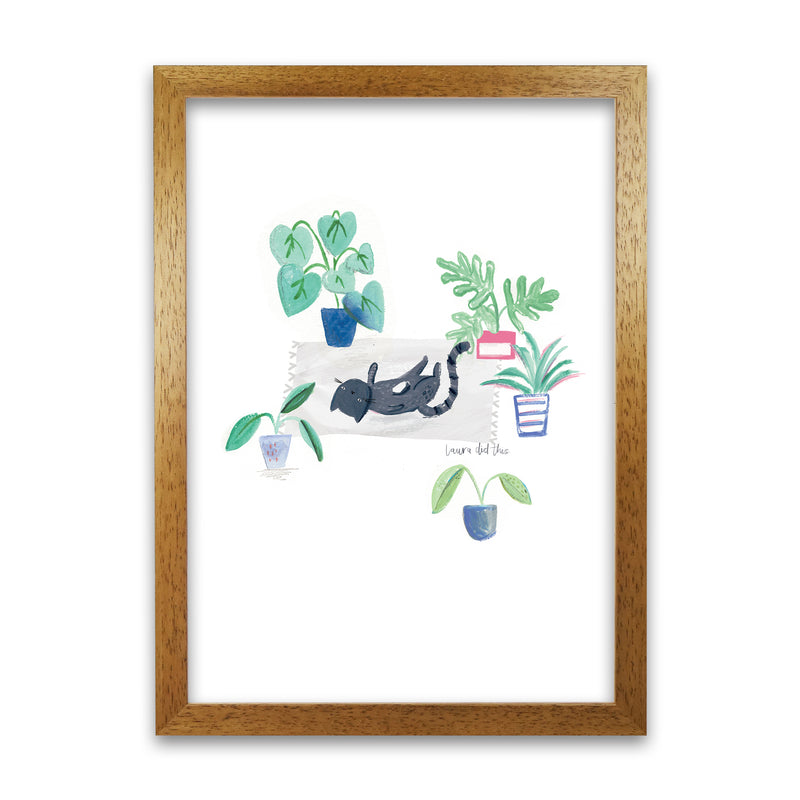 Laura Irwin Black Cat and House Plants A1 Print Only with White Mount