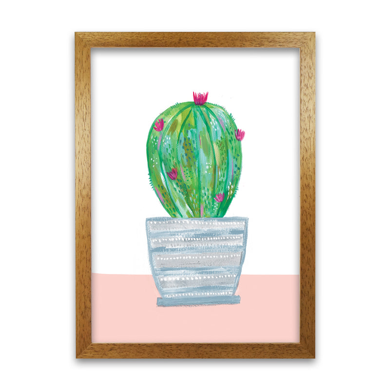 Laura Irwin Painted Cactus in Blue Stripe Plant Pot A1 Print Only with White Mount