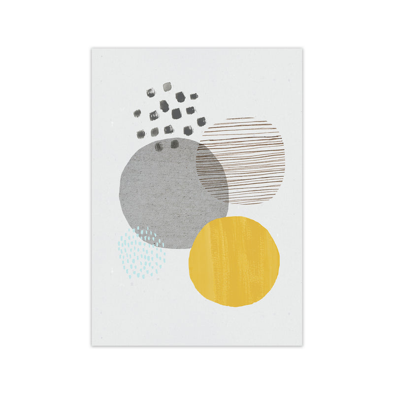 Laura Irwin Abstract Mustard and Grey A2 Black with White Mount