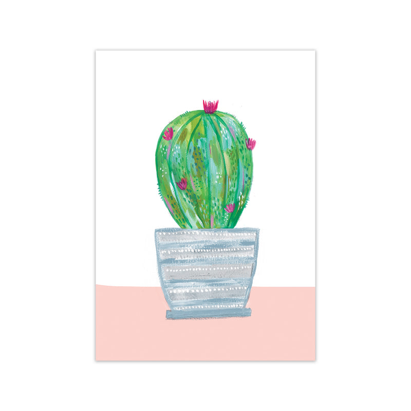Laura Irwin Painted Cactus in Blue Stripe Plant Pot A2 Black with White Mount