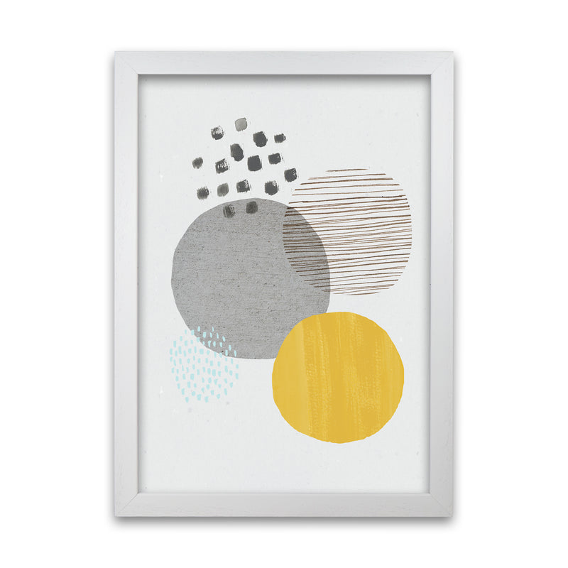 Laura Irwin Abstract Mustard and Grey A1 Oak with White Mount