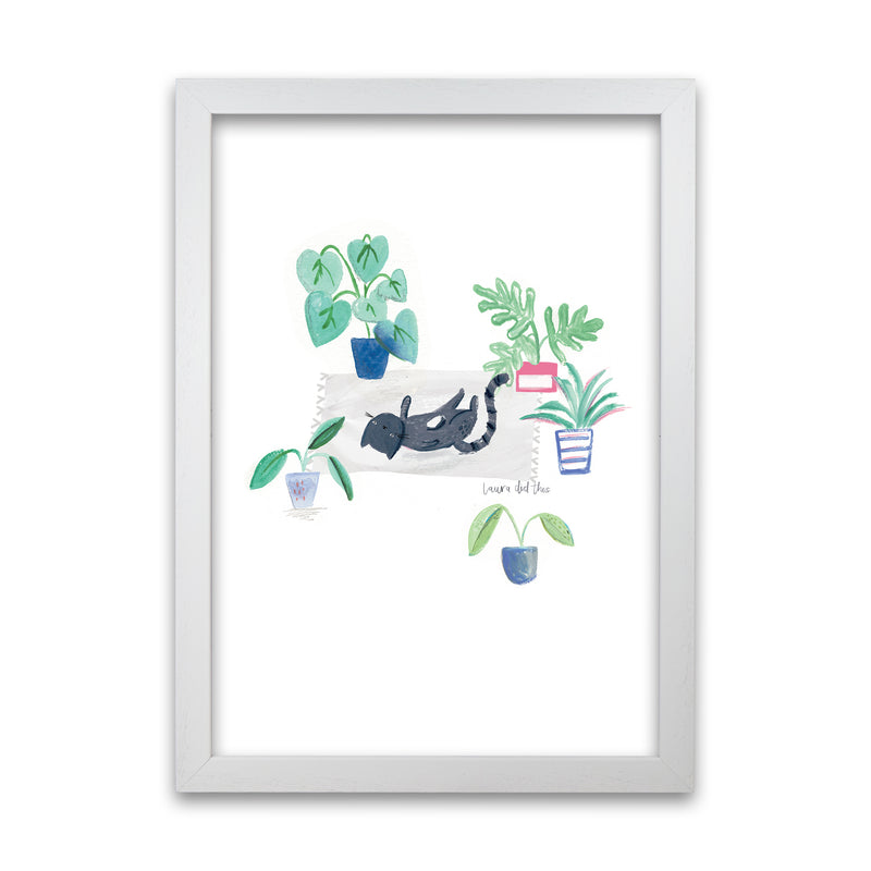 Laura Irwin Black Cat and House Plants A1 Oak with White Mount