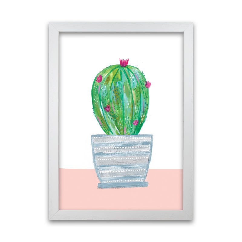 Laura Irwin Painted Cactus in Blue Stripe Plant Pot A1 Oak with White Mount
