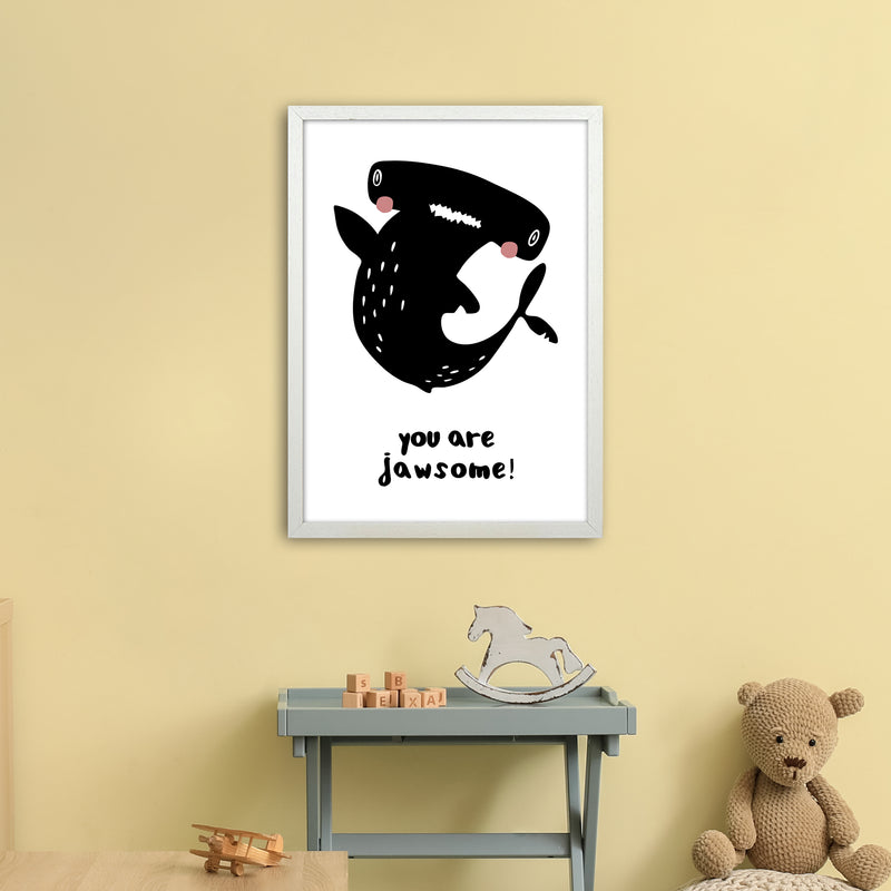 Shark Art Print by MiniOfMine A2 Oak Frame