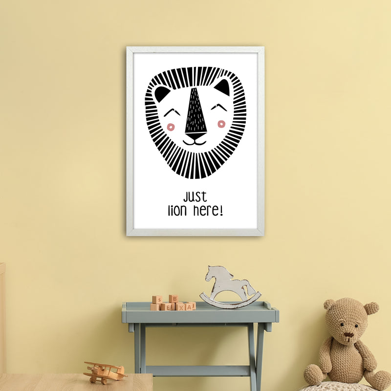 Lion Art Print by MiniOfMine A2 Oak Frame