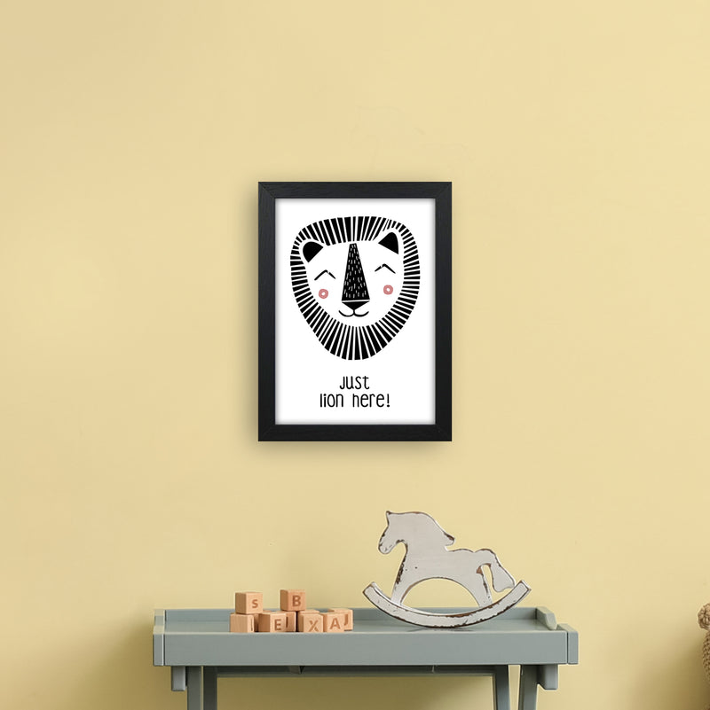 Lion Art Print by MiniOfMine A4 White Frame