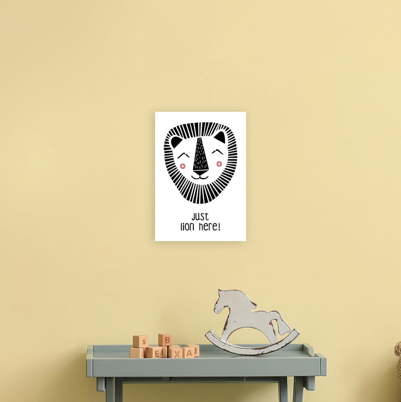 Lion Art Print by MiniOfMine A4 Black Frame