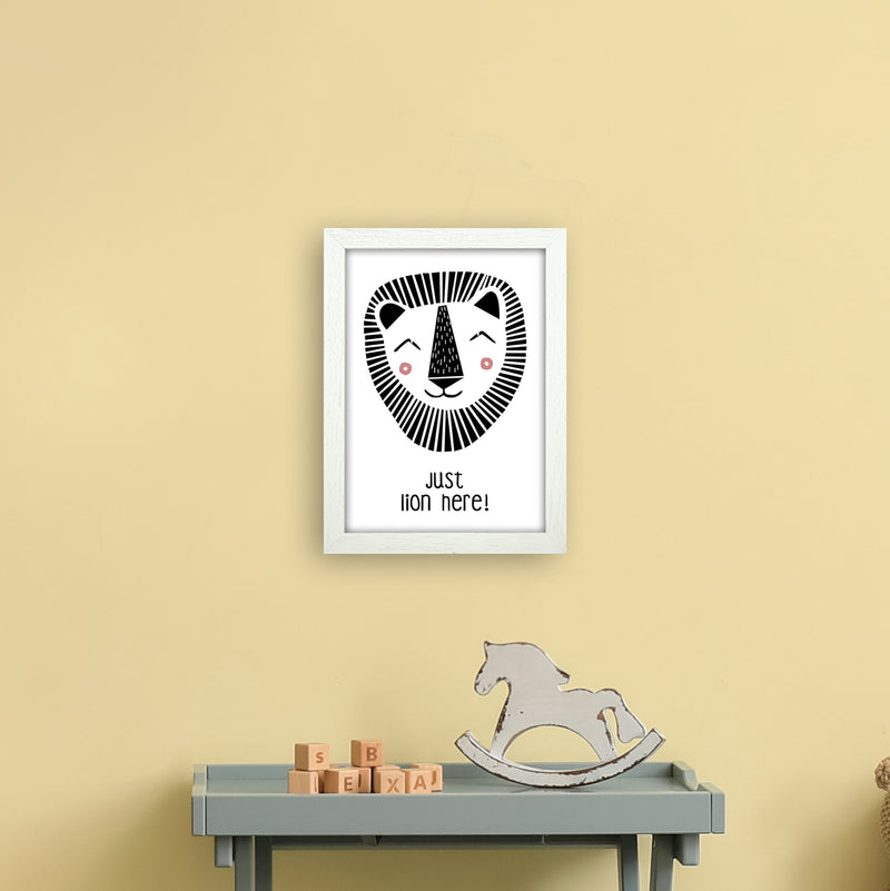 Lion Art Print by MiniOfMine A4 Oak Frame