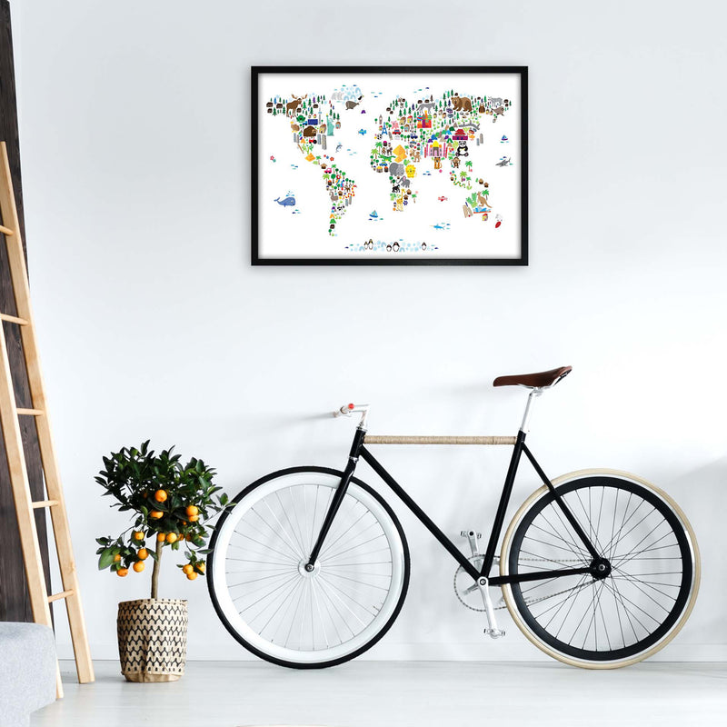 Animal Map of the World Nursery Art Print by Michael Tompsett A1 White Frame