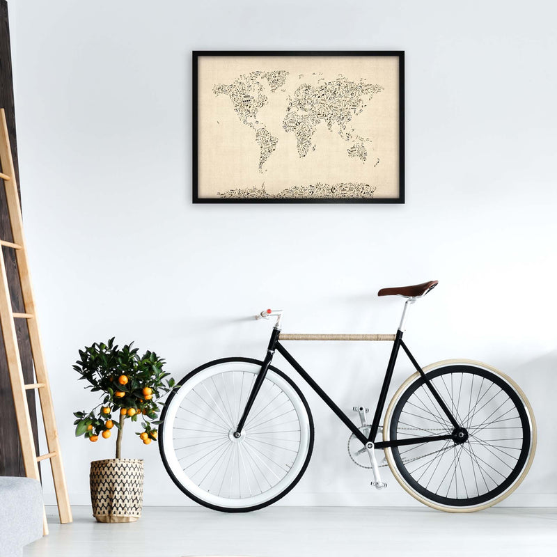 Music Notes Map of the World Art Print by Michael Tompsett A1 White Frame