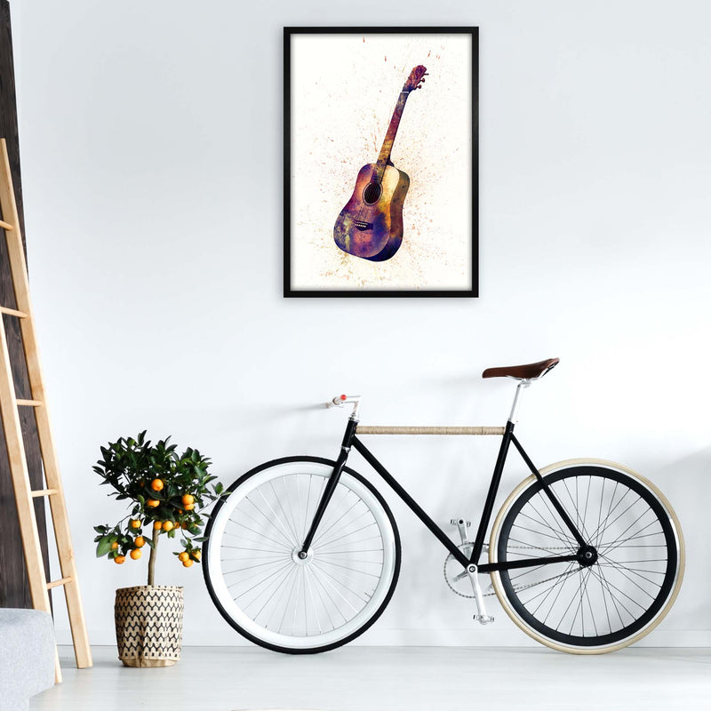 Acoustic Guitar Watercolour  by Michael Tompsett A1 White Frame