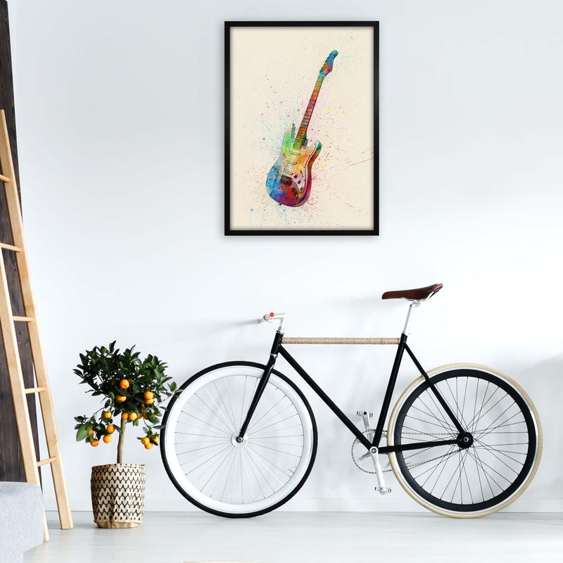 Electric Guitar Watercolour Multi-Colour  by Michael Tompsett A1 White Frame