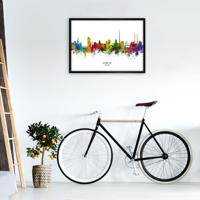 Dublin Ireland Skyline Art Print by Michael Tompsett A1 White Frame