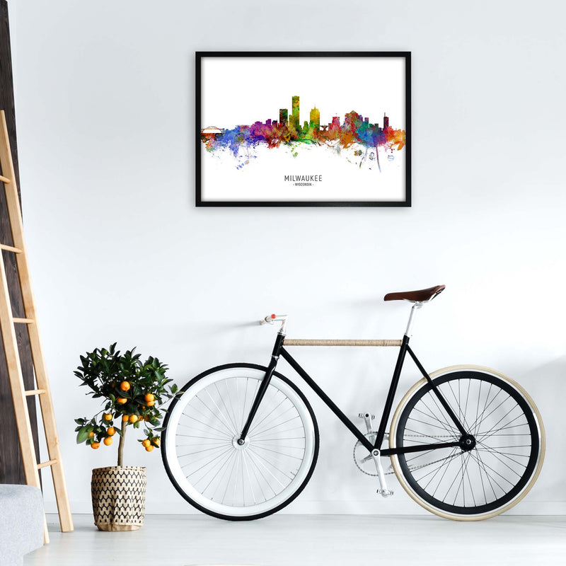 Milwaukee Wisconsin Skyline Art Print by Michael Tompsett A1 White Frame