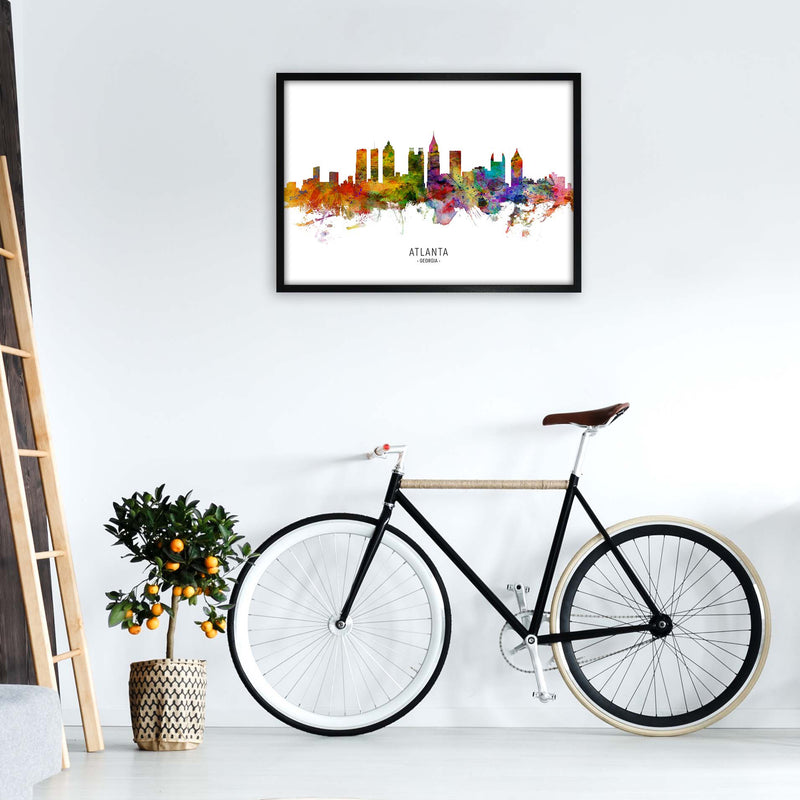 Atlanta Georgia Skyline Art Print by Michael Tompsett A1 White Frame