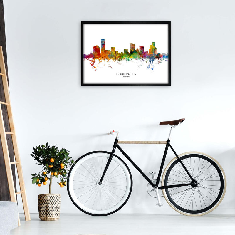 Grand Rapids Michigan Skyline Art Print by Michael Tompsett A1 White Frame
