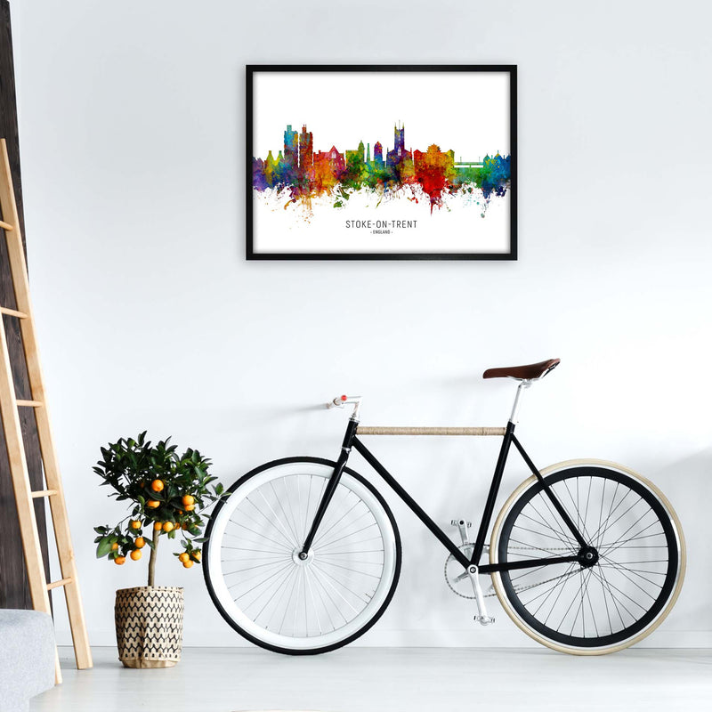Stoke-On-Trent England Skyline Art Print by Michael Tompsett A1 White Frame