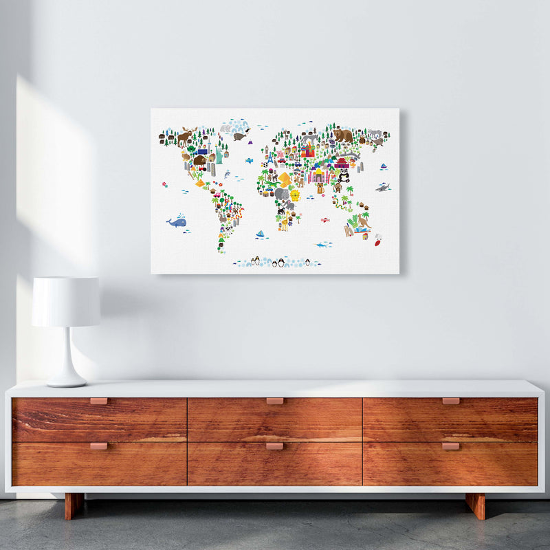 Animal Map of the World Nursery Art Print by Michael Tompsett A1 Canvas