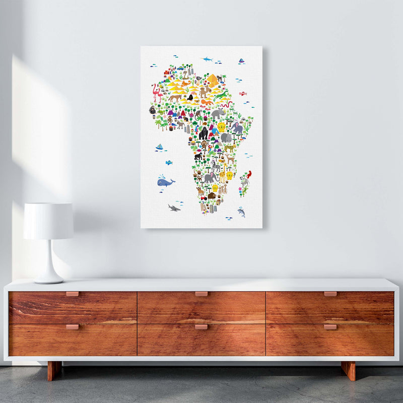 Animal Map of Africa Nursery Art Print by Michael Tompsett A1 Canvas