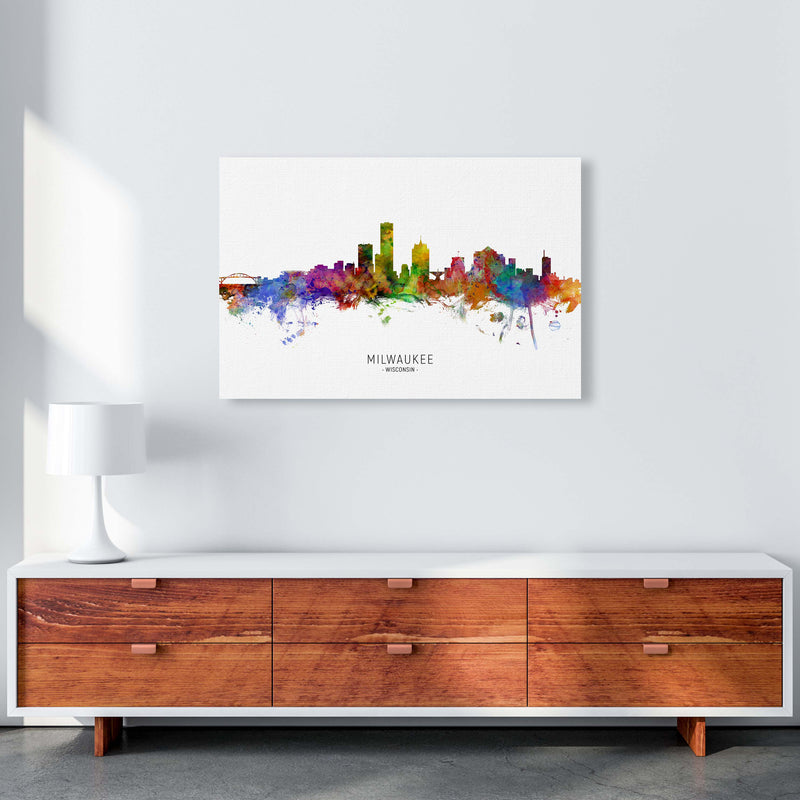 Milwaukee Wisconsin Skyline Art Print by Michael Tompsett A1 Canvas