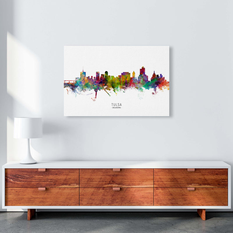 Tulsa Oklahoma Skyline Art Print by Michael Tompsett A1 Canvas